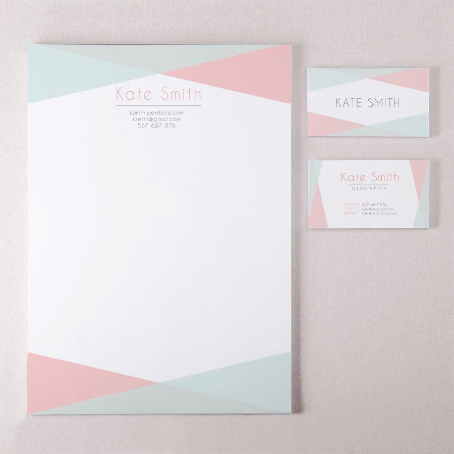 Geometric business card template and letterhead design custom ...