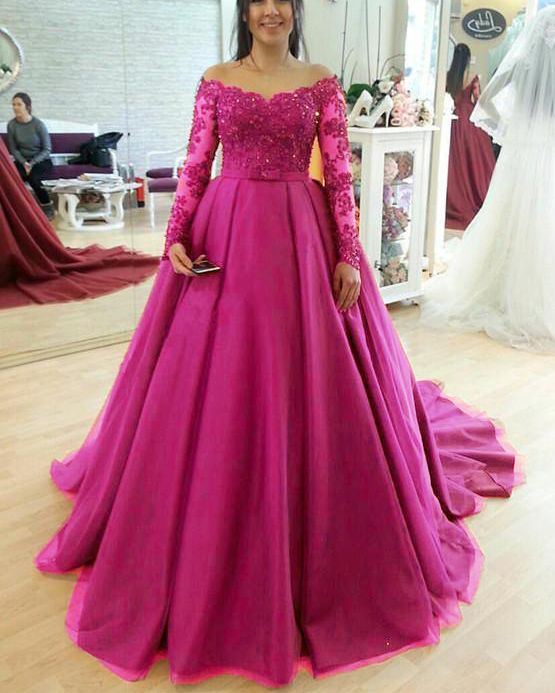 a05630950a5 burgundy royal blue pink Long Sleeves Lace and tulle wedding dresses ...