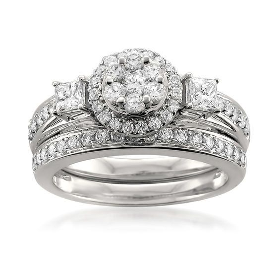 1 Ct T W Diamond Flower Cluster Frame Bridal Set In 14k White Gold Wedding Rings Sets Gold Diamond Wedding Bands White Gold