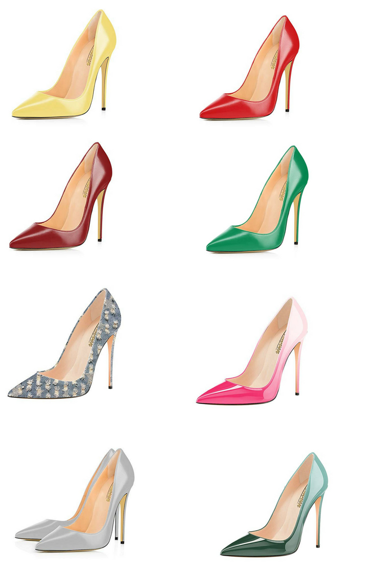 Color : F, Size : 43 High-Heeled Shoes Pointed Handmade Gradient