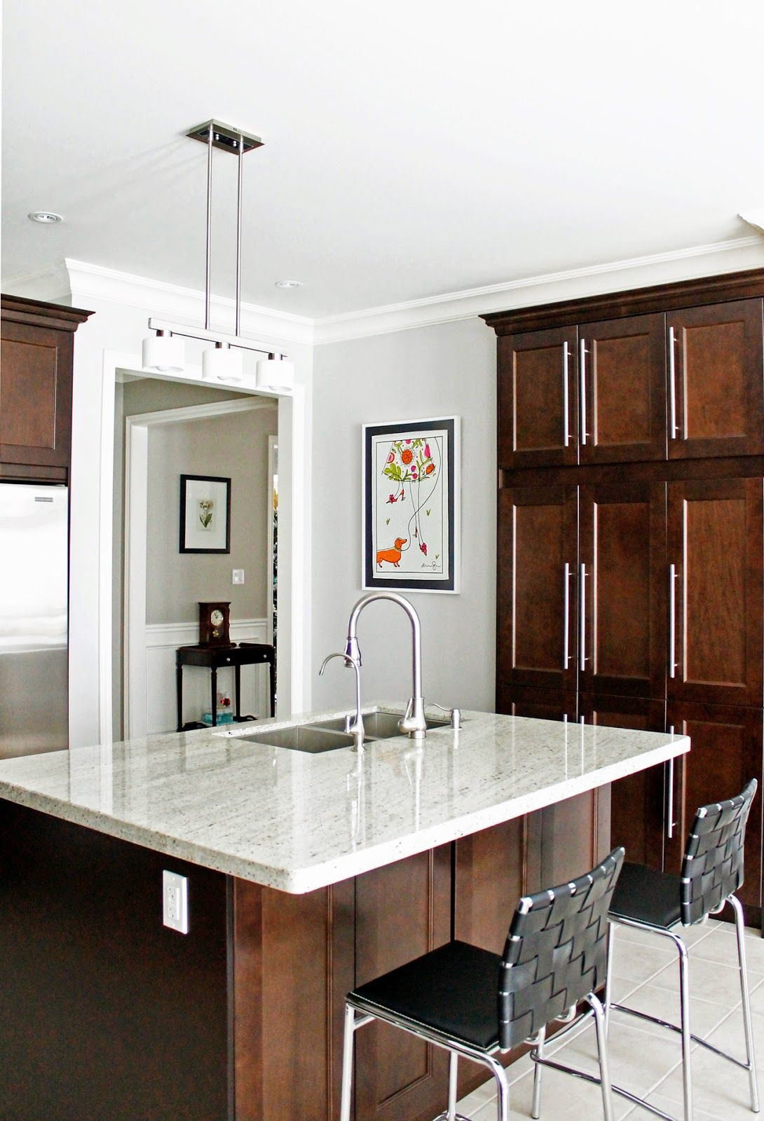 Best Dark Cabinets With White Gray Flooring Light Counters And 640 x 480