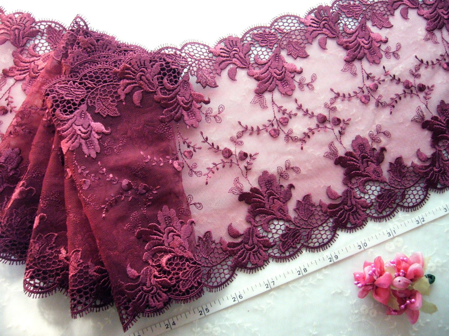 Red bridal lace embroidered floral tulle net trim 2 3/4 yards RD086. $10.25