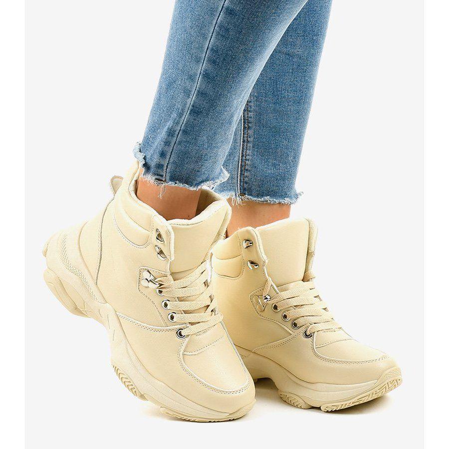 Bezowe Damskie Sneakersy Ocieplane C 3132 Bezowy Womens Wedge Sneakers Women Shoes Wedge Sneakers