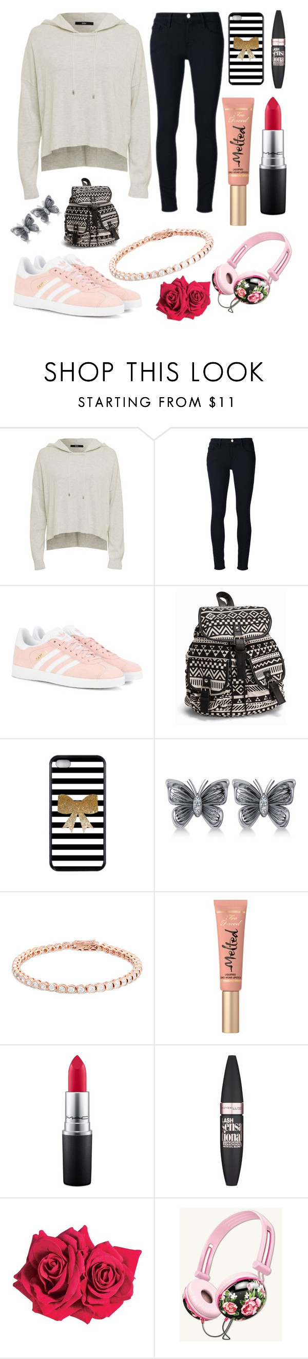 """""""raar"""" by christabetsie ❤ liked on Polyvore featuring Frame Denim, adidas Originals, NLY Accessories, Allurez, Too Faced Cosmetics, MAC Cosmetics, Maybelline and Avon"""