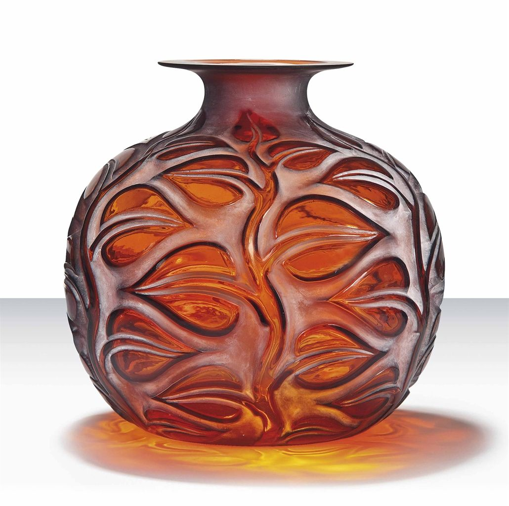 SOPHORA VASE, NO. 977 designed 1926, amber and white stained, engraved R. Lalique