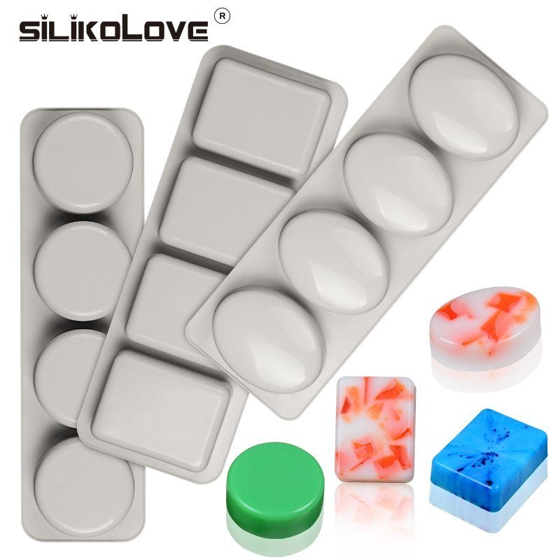 4 Cavity Square Silicone Mold Rounded Corner Soap Making Cake Food Craft Tray US