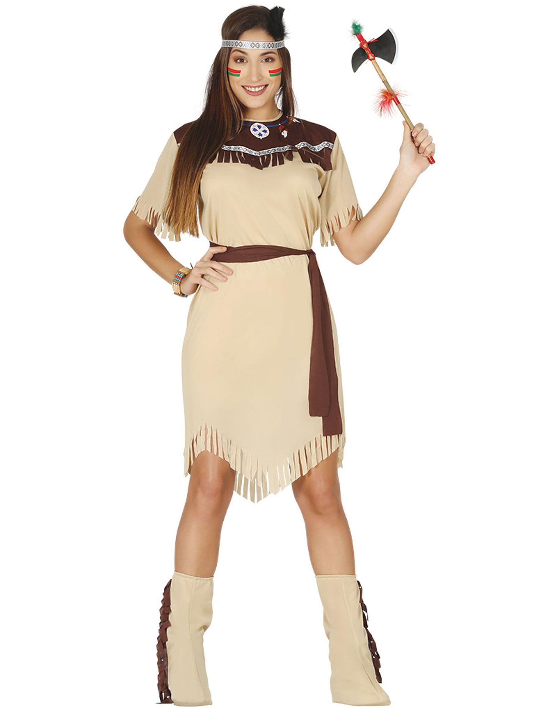 f9c0263e6b30 Costume da Indiana d America beige per donna  Questo travestimento da  Indiana beige per