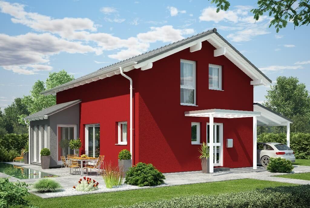 Erker Anbauen haus mit satteldach erker anbau und putzfassade rot