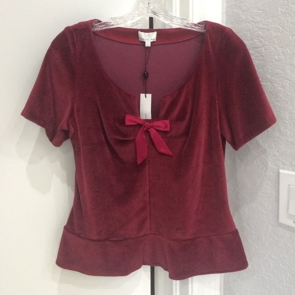 NWT MIGUELINA velour top L New with tags MIGUELINA shirt top. So pretty for the holidays (Thanksgiving or Christmas.) Soft burgundy velour short sleeve with a rounded neck line with a V and satin bow in front. Bottom is flared almost peplum. Side zip. Was $195 ($147 on sale.) Cotton poly blend. Dry clean only. Size large. Miguelina Tops