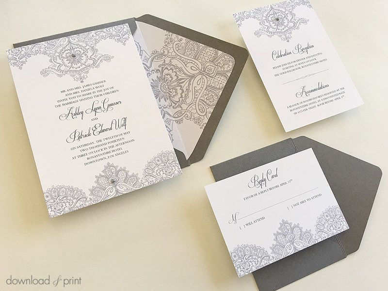 DIY Pearls & Lace wedding invitation with real pearl accents ...