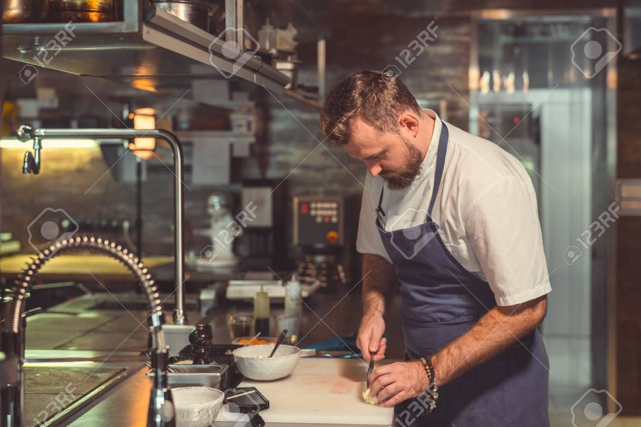 Working cook in the kitchen Stock Photo , #AD, #cook, #Working, #kitchen, #Photo, #Stock