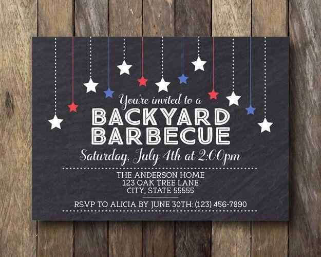 July 4th Invitation - Printable BBQ Invitation - Fourth of July Invite - July 4th BBQ - 4th of July Invitation - Backyard BBQ Invitation by TheLionAndTheLark on Etsy https://www.etsy.com/listing/230843079/july-4th-invitation-printable-bbq