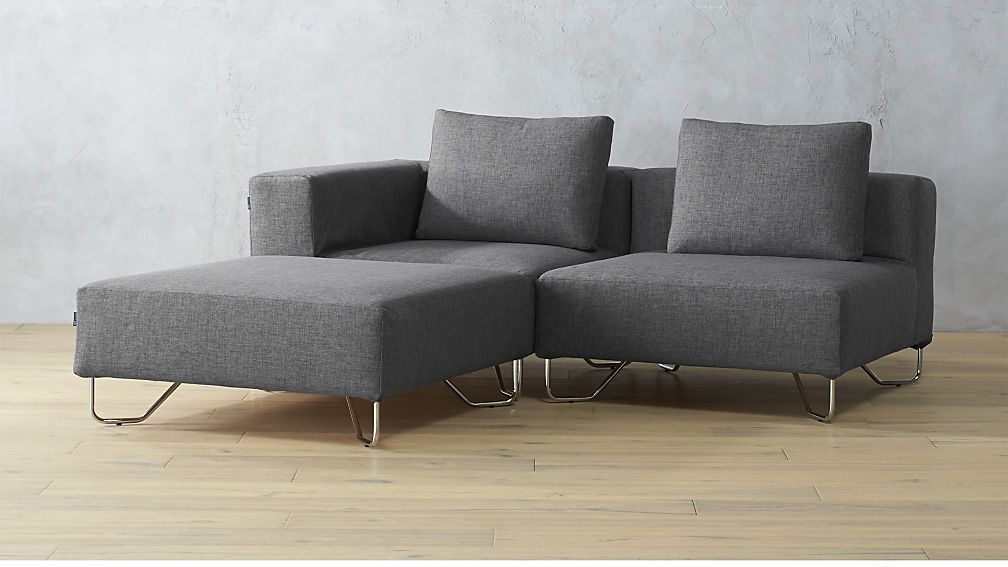 Magnificent Lotus 3 Piece Grey Sectional Sofa Blue Grey Cb2 In 2019 Pdpeps Interior Chair Design Pdpepsorg