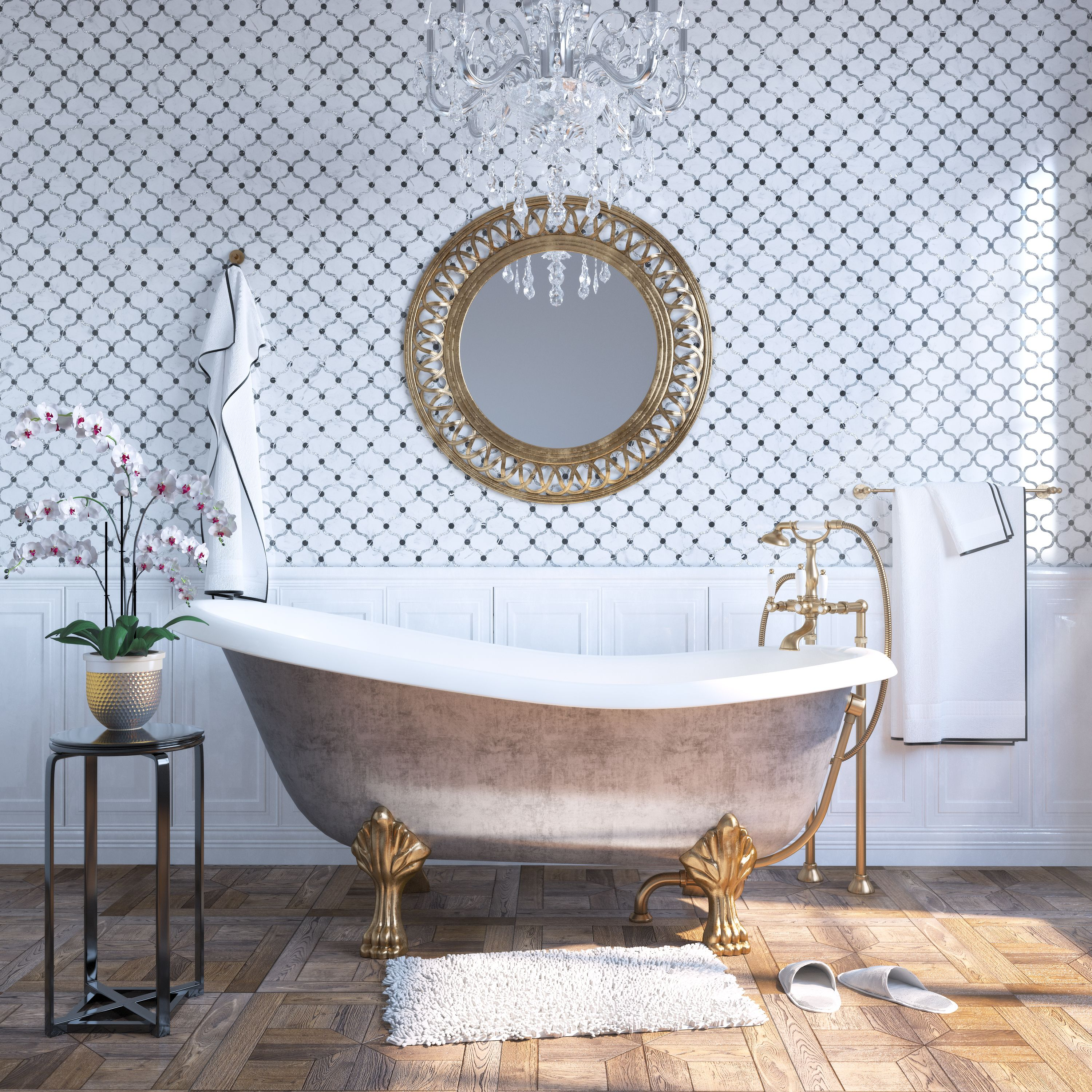 Waterjet mosaic on the walls in this gorgeous master bathroom ...