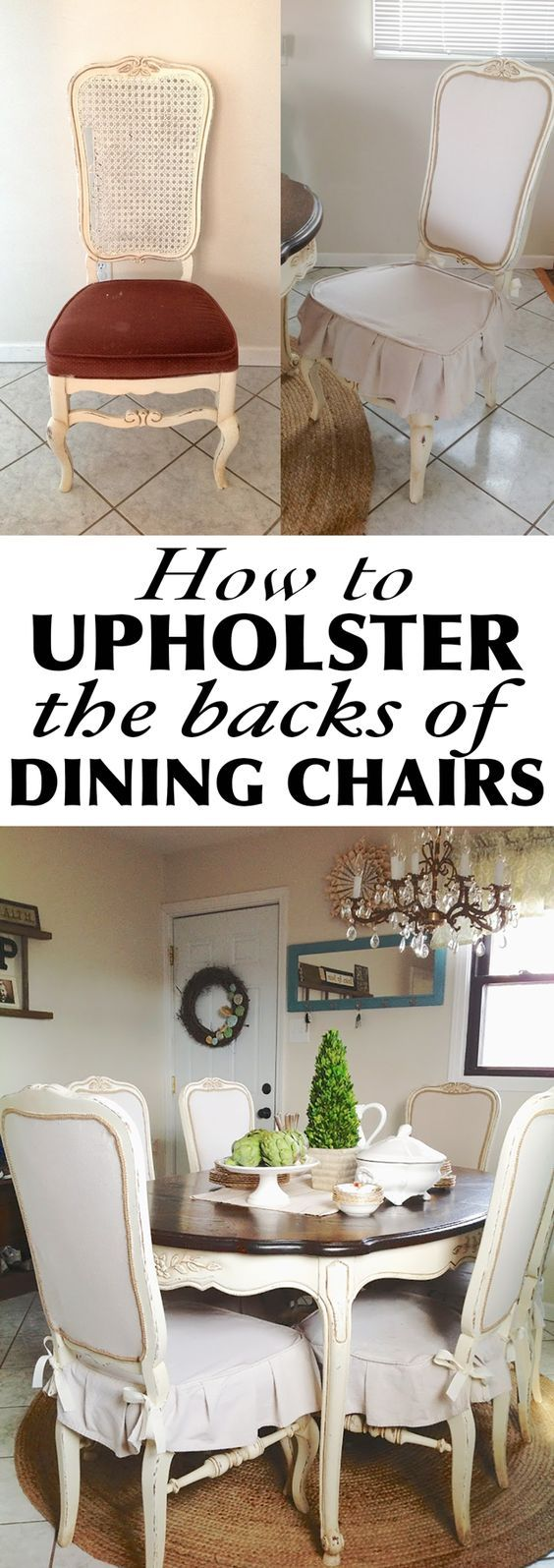 How to Upholster the Back of Dining Chairs is part of Dining chair makeover - How to upholster the back of a dining chair using batting, drop cloth an gimp trim  Great solution to damaged cane back chairs