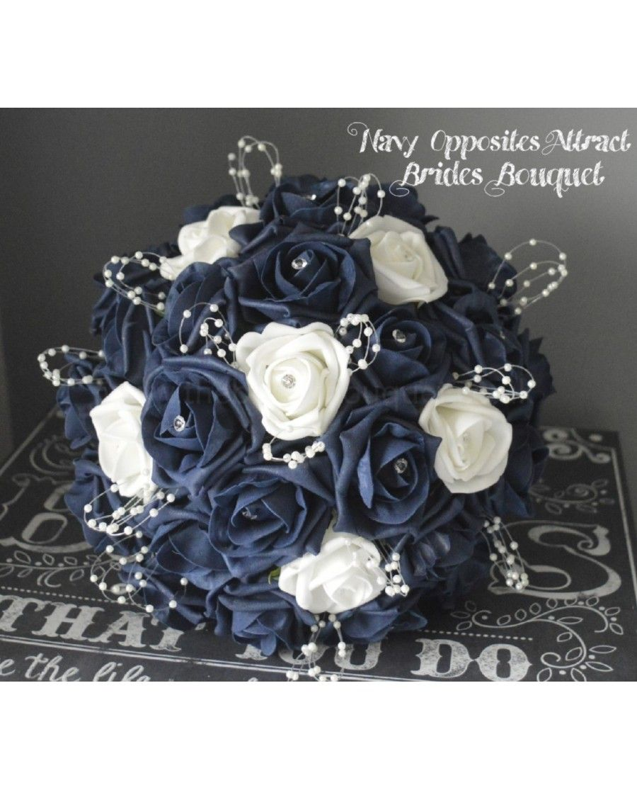 Navy blue opposites attract coloured rose bridal bouquet of roses