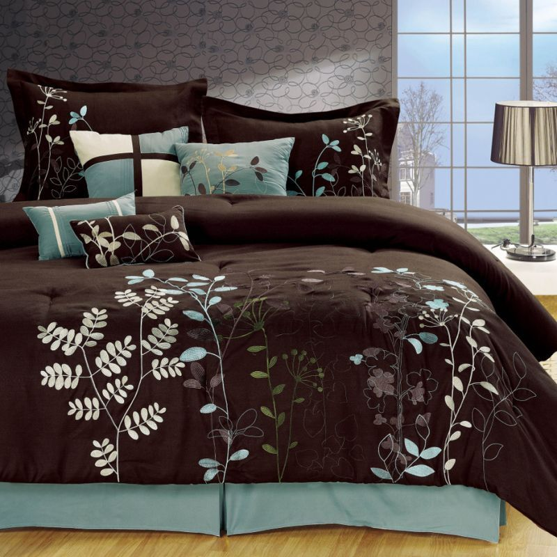 Light Blue and Brown Bedding | Bliss Garden 8-Piece Brown Comforter Set