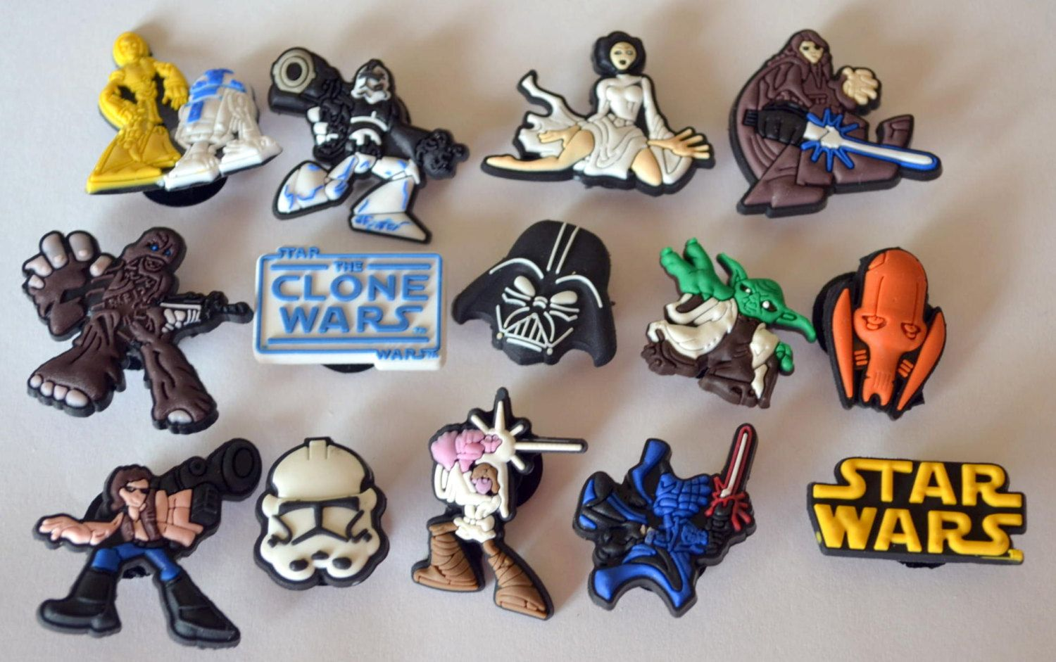 Star Wars Clone Wars 14pc Shoe Charms Cake Toppers Birthday Party Pack, Locker Magnets, Back Pack Zipper Pulls fit Wristbands by GroovyDeals on Etsy