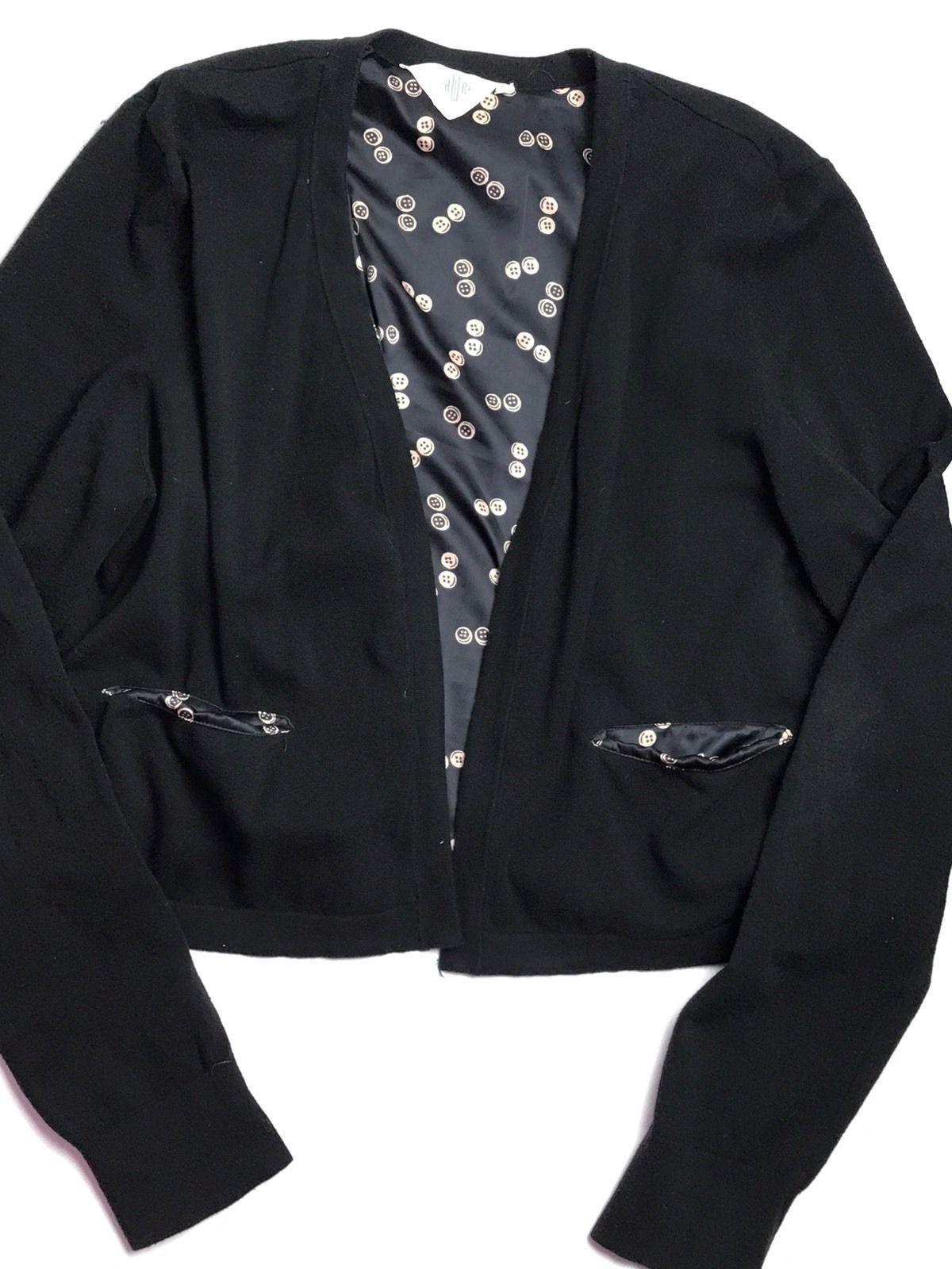 HWR Anthropologie black open front Cardigan Sweater long sleeve ...
