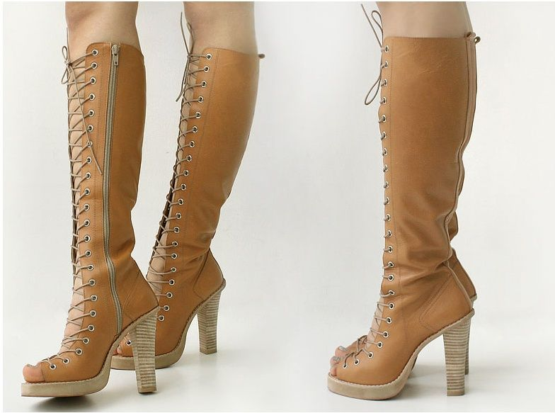 knee high heel boots lace up ivory - Google Search | A Funny Thing ...