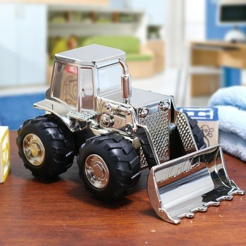 Personalized Tractor Bank Pewter Baby or Ringbearer Gift Engraving Included