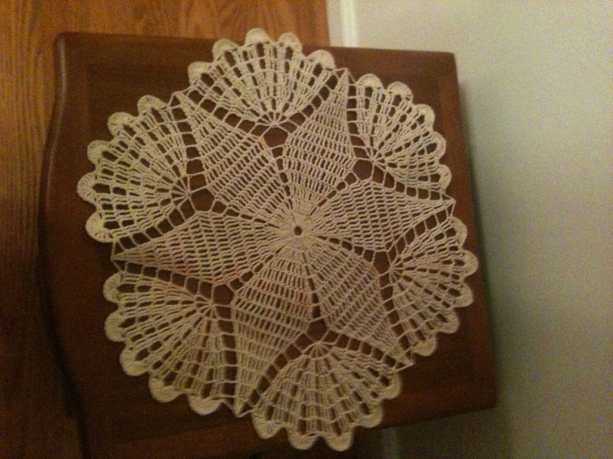 Round End Table Doily My Husband Crocheted That Matches The