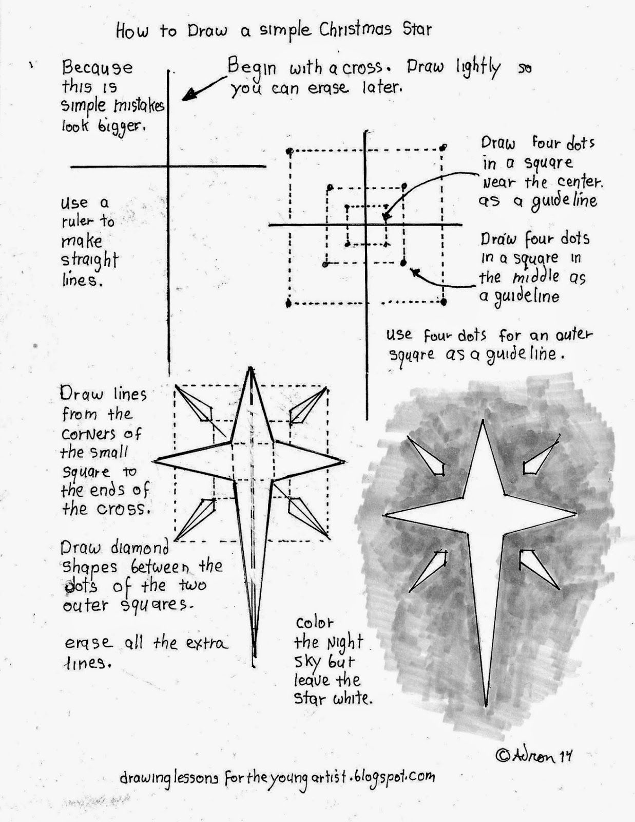 How To Draw An Easy Christmas Star Printable Worksheet