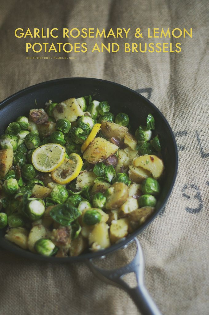 Potatoes And Brussel Sprouts With Garlic, Rosemary, And Lemon - Vegan, Gluten Free, Healthy