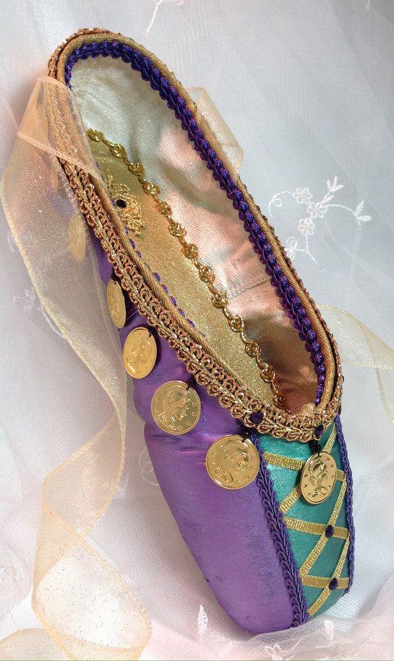 La Esmeralda decorated pointe shoe in purple by DesignsEnPointe