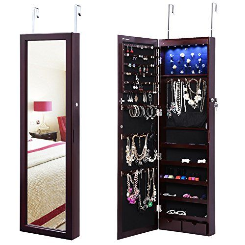 SONGMICS Lockable Jewelry Cabinet Wall Door Mounted Jewelry