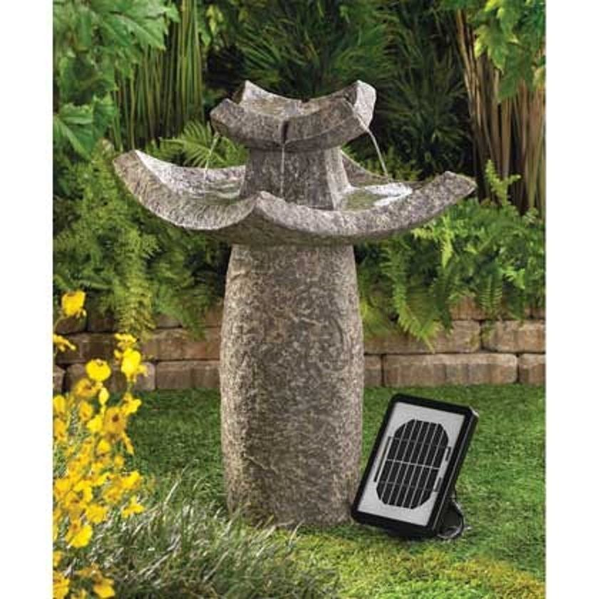 SOLAR Japanese Asian Temple Pagoda ZEN Bird Bath Outdoor Garden Patio  Fountain