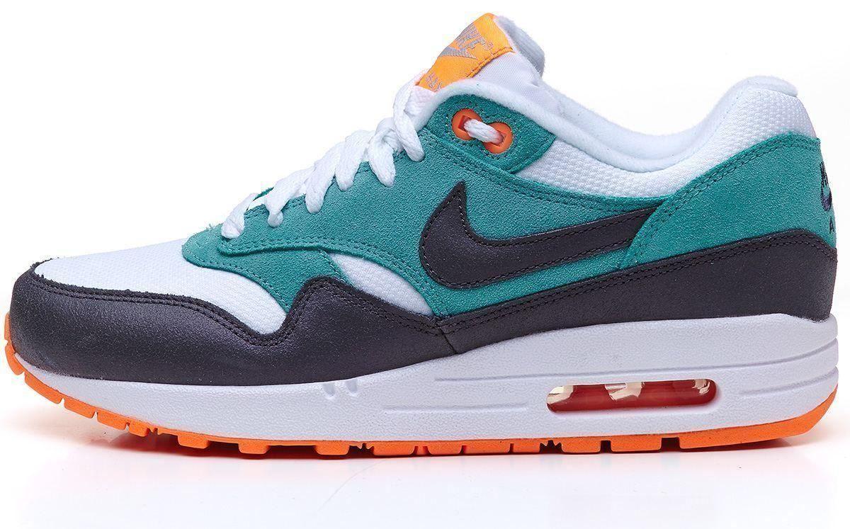 new style 9ab06 385e8 Nike Air Max 1 Essential white   green   orange trainers 599820 103