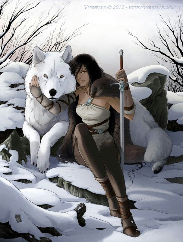 White wolf with woman warrior sword snow digital art fantasy