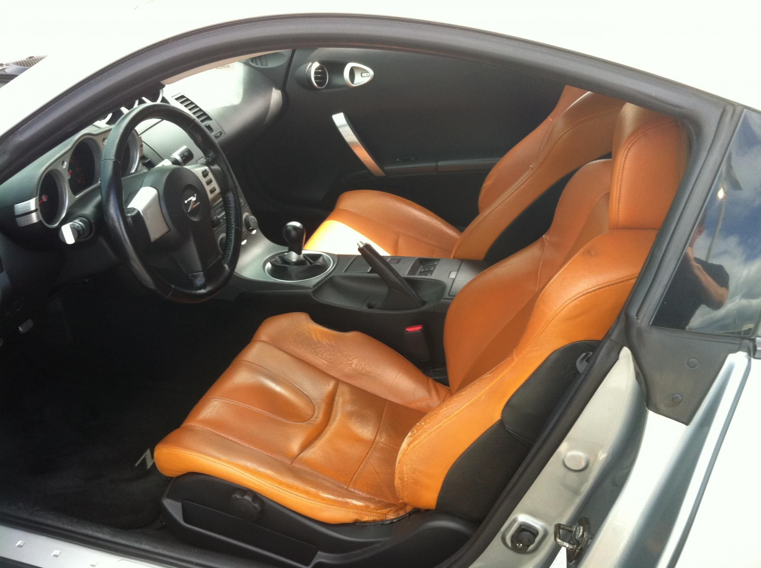 2003 350z silverstone with black orange brown interior seats grey auto addiction interiors. Black Bedroom Furniture Sets. Home Design Ideas