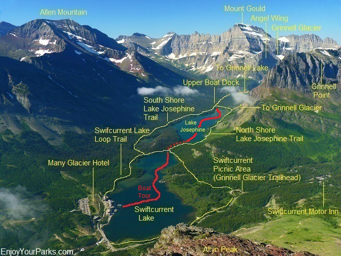 View of the Many Glacier Area from the summit of Altyn Peak in