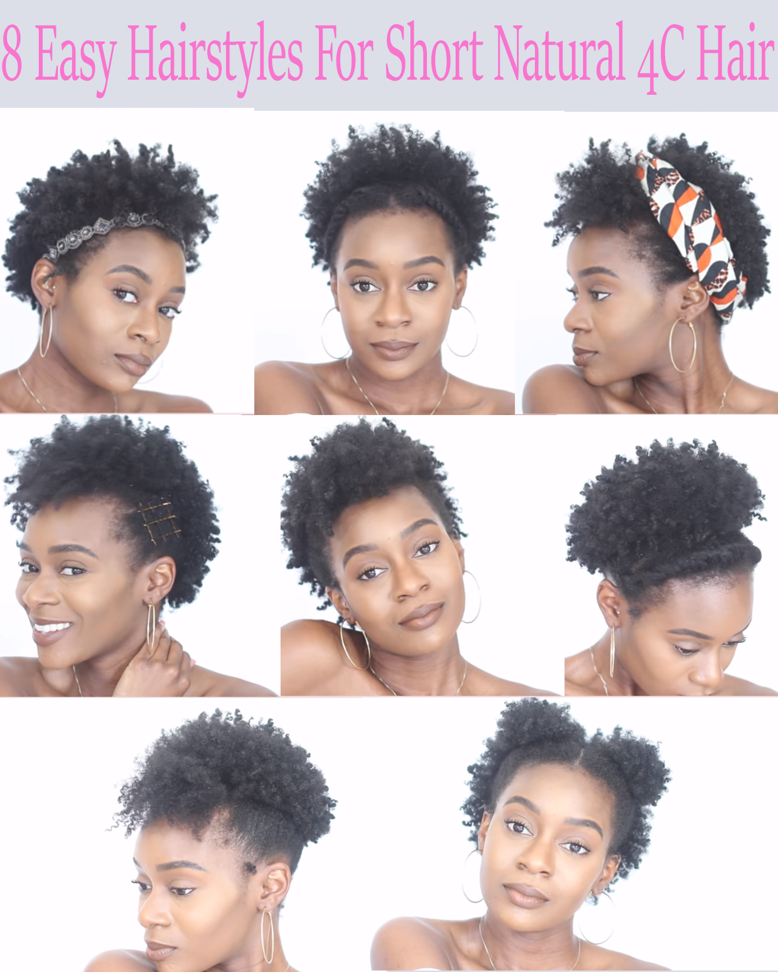 8 Easy Protective Hairstyles For Short Natural 4c Hair That Will Not Damage Your Edges African American Hairstyle Videos Aahv Natural Hair Styles For Black Women Short Natural Hair