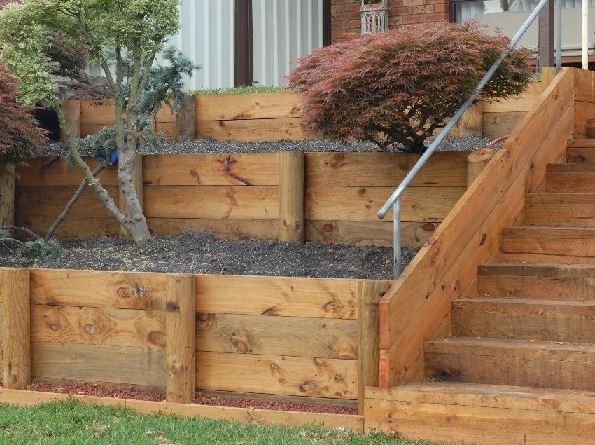 Pin By Amy White On Retaining Wall Landscaping Retaining Walls Wood Retaining Wall Garden Retaining Wall