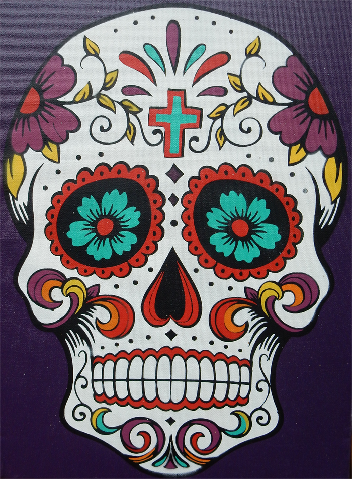 Sugar Skull Stenciled Canvas — Crafthubs | Crafts and ...