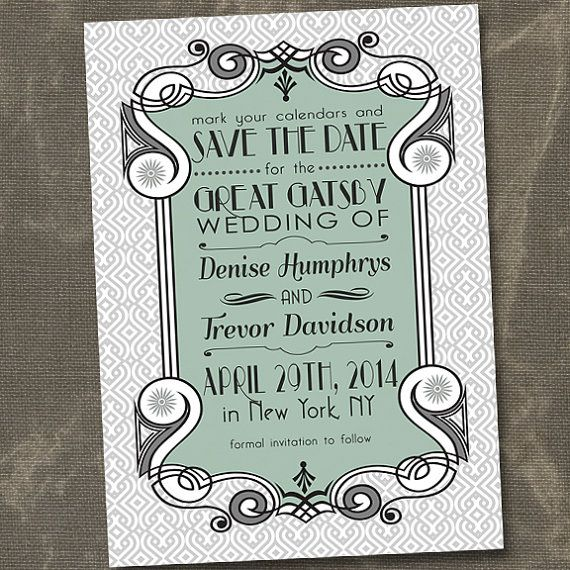 Art Deco Save the Date Great Gatsby Save the Dates Vintage Save