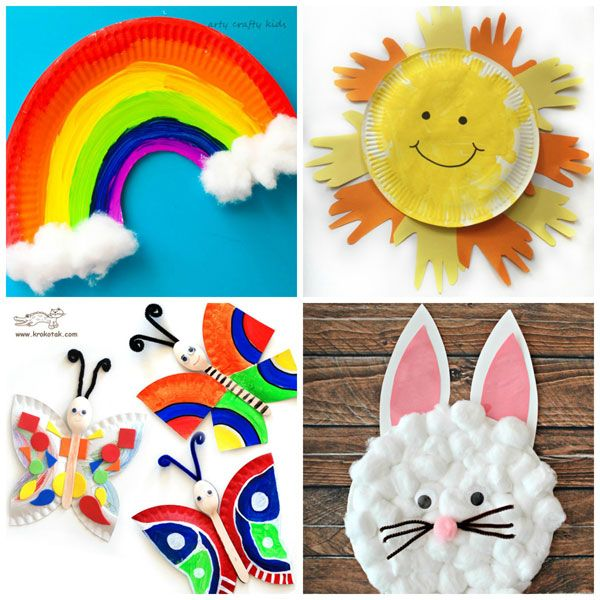 Paper Plate Spring Crafts For Kids Rainbow Sun Butterflies And Rabbit Easy Preschool