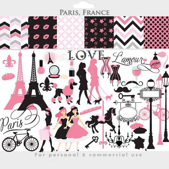 paris clipart france clipart eiffel tower french pink black rh pinterest com Vintage Paris Clip Art Mad Hatter Clip Art
