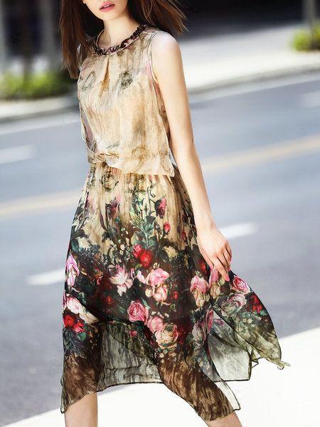 Shop Midi Dresses - Apricot Floral Silk Crew Neck Sleeveless Midi Dress online. Discover unique designers fashion at StyleWe.com.