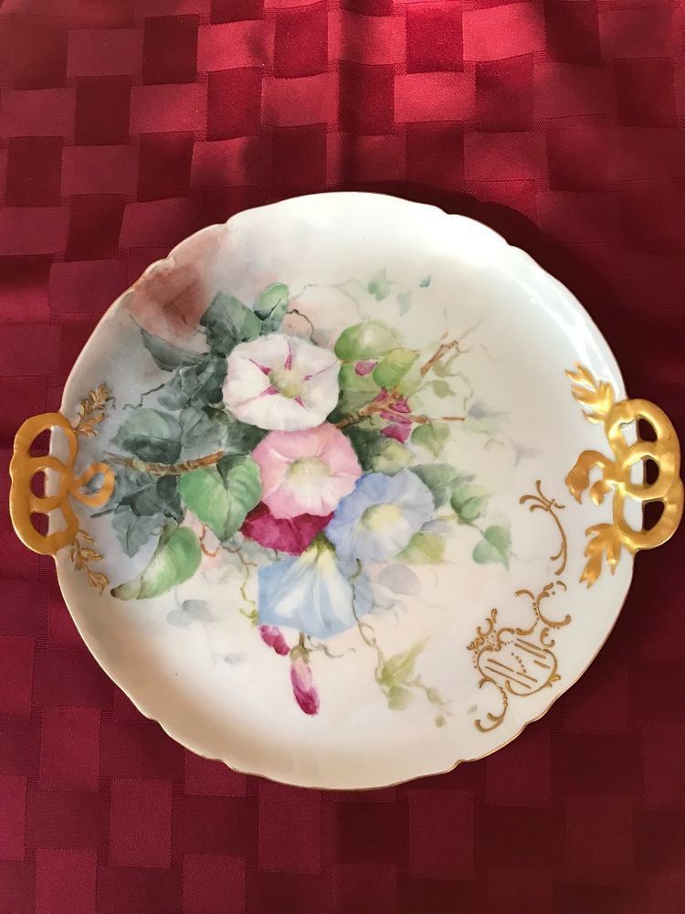 Antique hand painted CF Haviland Limoges handled tray dish flowers gold