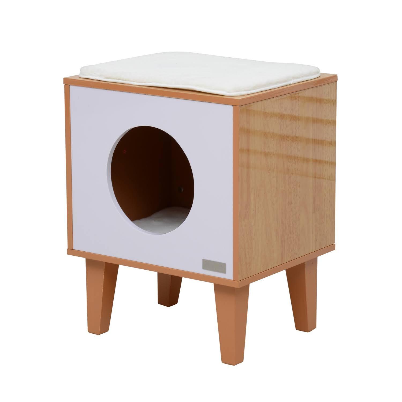 "Modern Cat House pawhut 20"" mid-century modern square cat house - burlywood/white"