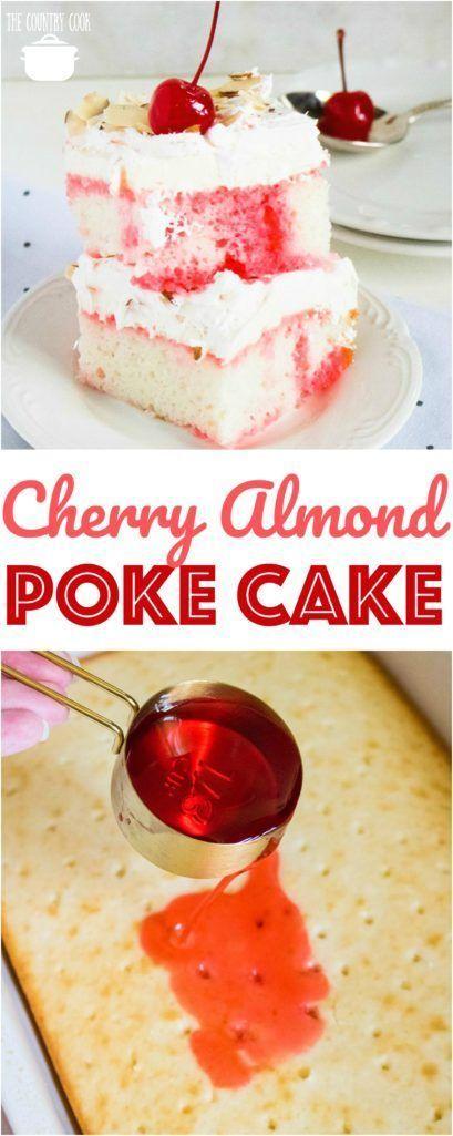 Cherry Mandel Poke Kuchen   - cakes -