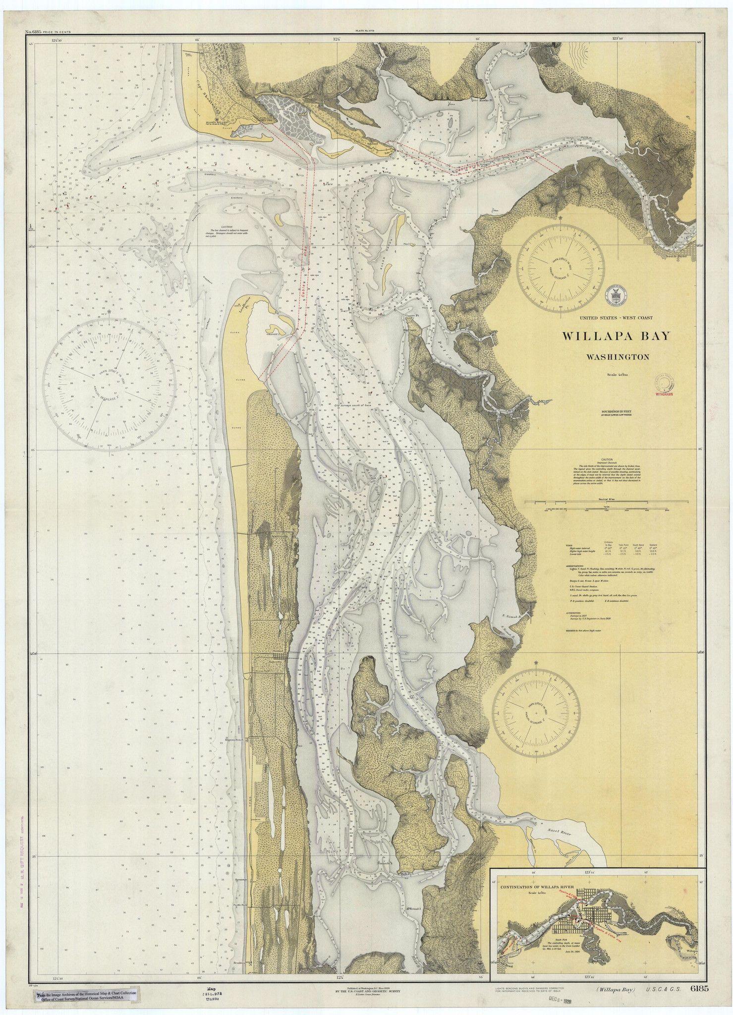 Willapa Bay Washington Historical Map - Printable us map landscape