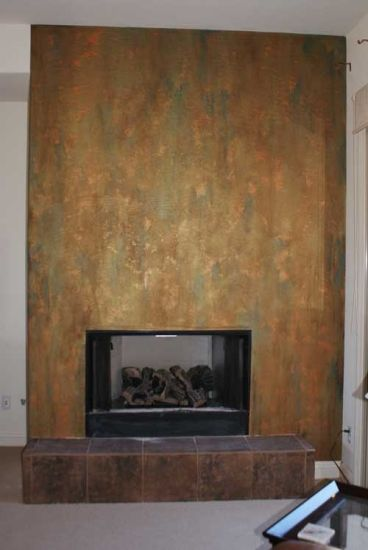 Metallic Plaster Gold Copper Patina Finish Fireplace