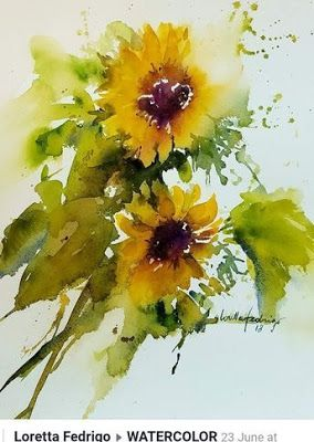 Sonnenblumen Aquarell Watercolor Illustration Sunflower