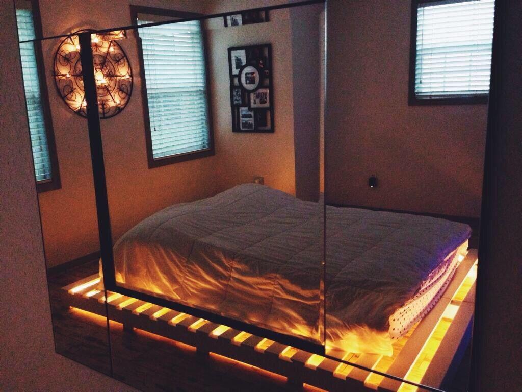 Lit Up Bed 2 Pallet Furniture Bedroom Pallet Bed With Lights
