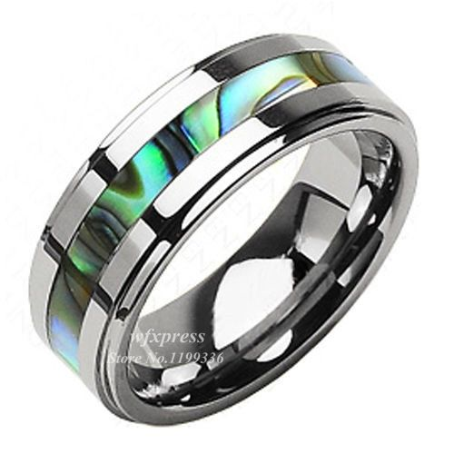 8mm tungsten prachtige jade abalone streep ingelegd wedding band ring mannen gratis verzending - Jade Wedding Ring